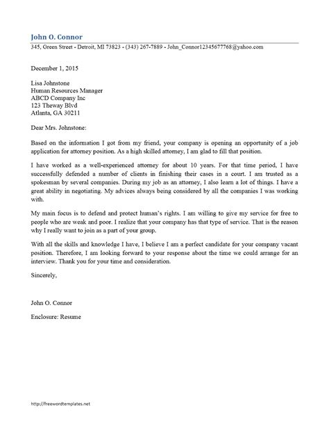 attorney cover letter sles letter word templates free word templates ms word