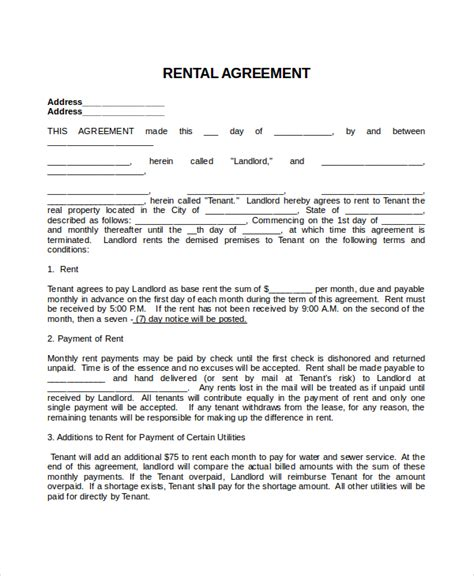 rental agreements templates 28 images rental agreement