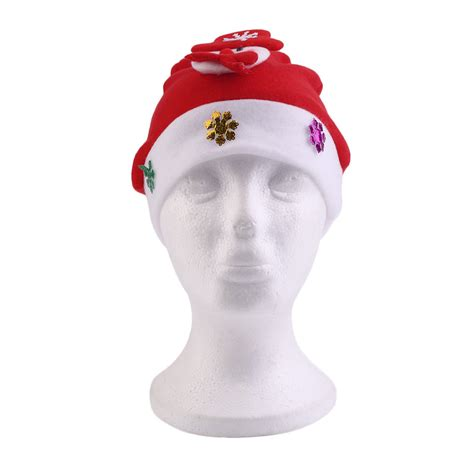 cute kids children red christmas decoration glowing hats
