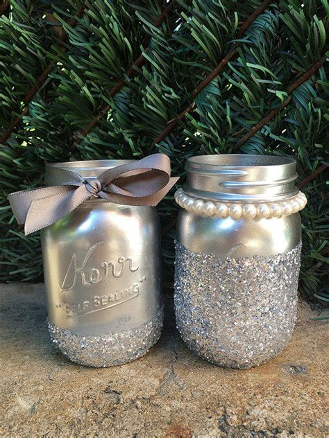 Barnes And Noble College Glitter Mason Jars Silver Mason Jars From
