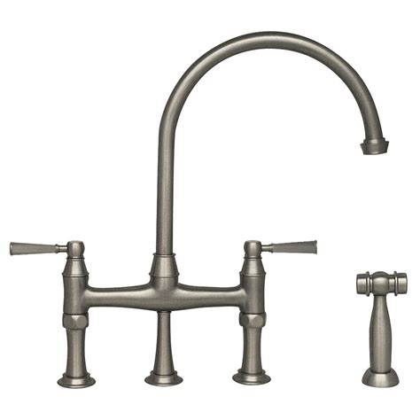polished nickel kitchen faucet whitehaus collection queenhaus 2 handle bridge kitchen faucet with side sprayer in polished