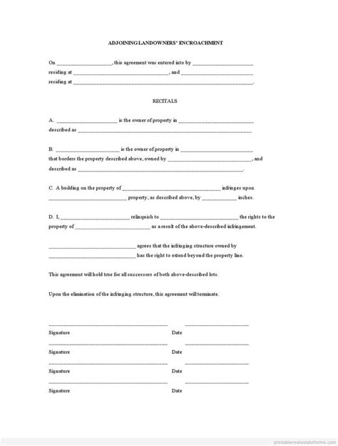 encroachment agreement template 4078 best images about printable real estate forms 2014 on