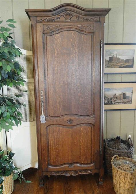 Country Armoire Antique French Tall Narrow Dark Oak Carved