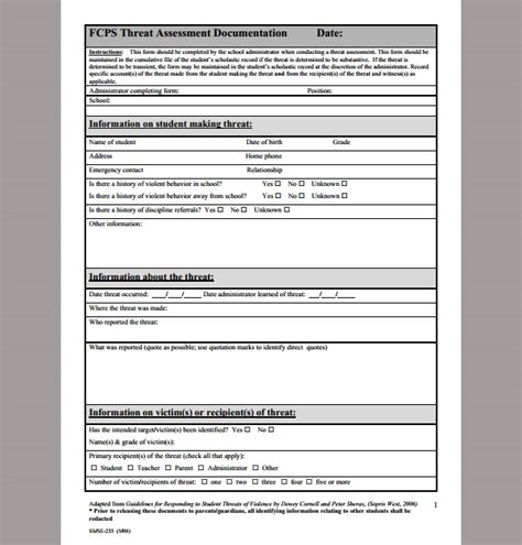 Threat Assessment Template threat assessment template sle threat assessment 9