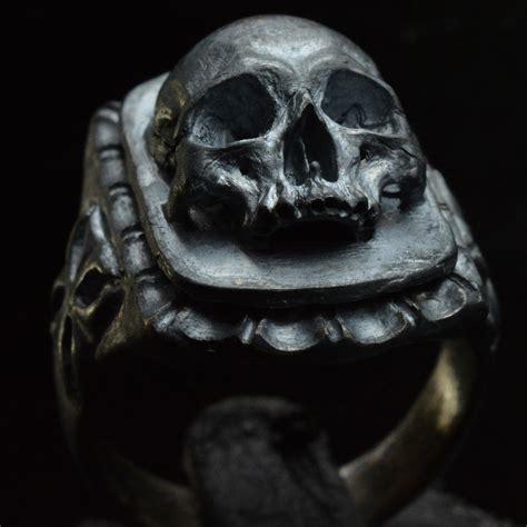 sterling silver skull skull signet ring 925 sterling silver skull ring