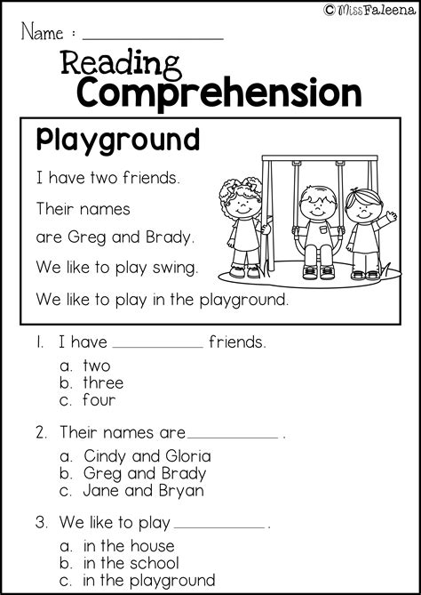 grade kindergarten worksheets free reading comprehension practice miss faleena s store