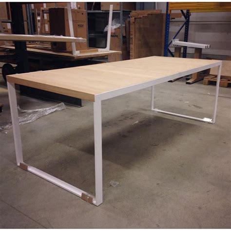 Ikea Tafelblad Massief by In Productie Massief Eiken Blad In Een Wit Gepoedercoat