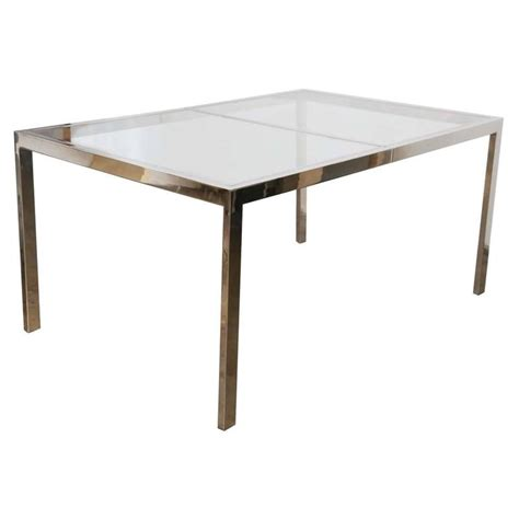 Chrome Dining Tables Milo Baughman Chrome And Glass Dining Table At 1stdibs