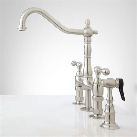 bridge faucets kitchen bellevue bridge kitchen faucet with brass sprayer lever