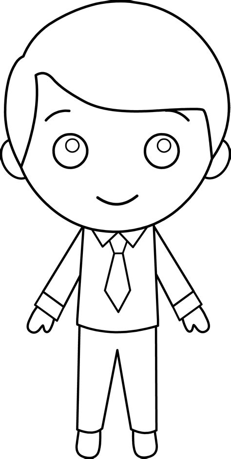 boy template in suit line free clip
