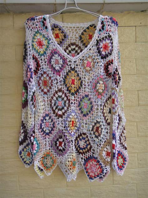 handmade crochet granny square jumpers women long sleeve