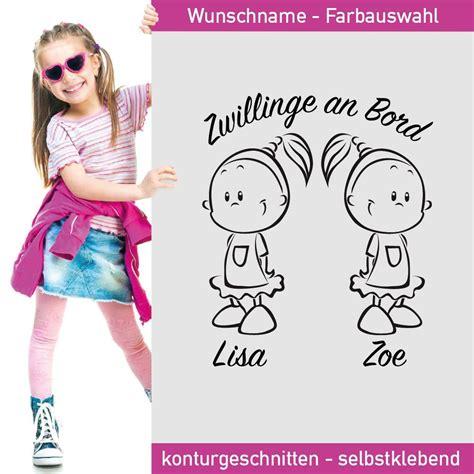 Autoaufkleber Baby Zwillinge by Aufkleber Zwillinge M 228 Dchen An Bord Mit Wunschnamen