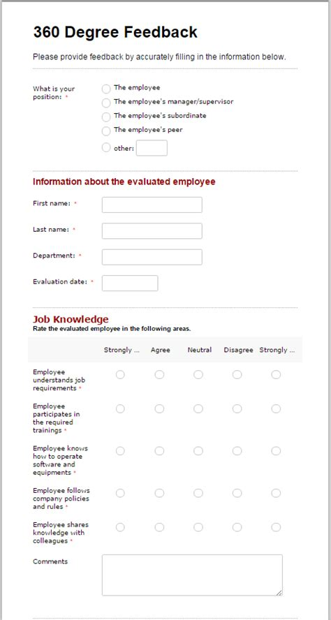 Evaluate Team Performance With A 360 Degree Feedback Form 360 Feedback Template