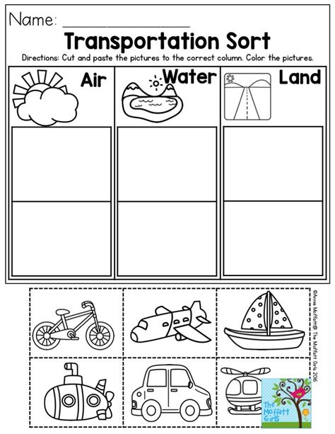 kindergarten activities on pinterest transportation sort air water or land perfect for