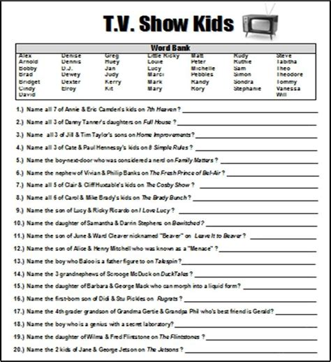 printable tv quiz quot tv show kids quot trivia baby shower game word document i