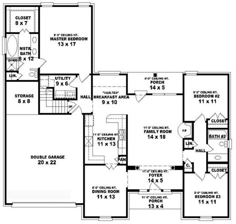5 bedroom house plans 1 story 653805 1 5 story 3 bedroom 2 bath style house