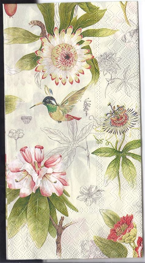 Decoupage Flowers - decoupage napkins of flowers and hummingbird chiarotino
