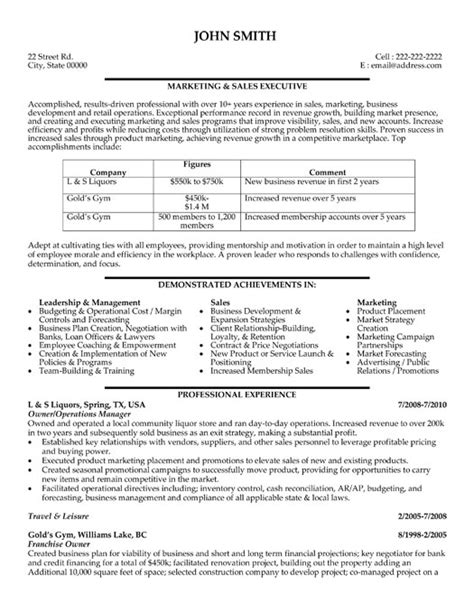 Licensing Executive Sle Resume by Marketing And Sales Executive Resume Template Premium Resume Sles Exle