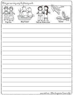 native american printable writing paper write your own story thanksgiving theme pilgrims