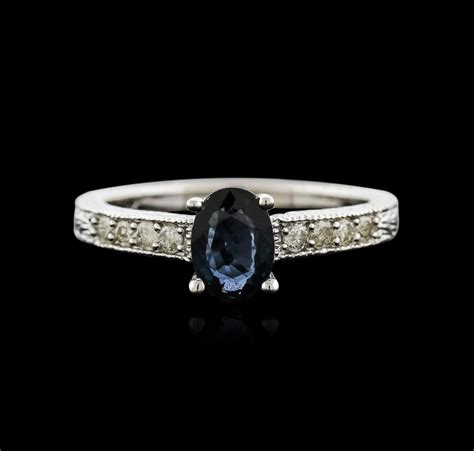 Cincin Berlian 120 Ct White Gold 40 14kt white gold 1 00ct sapphire and ring