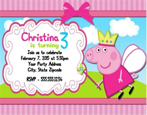 peppa pig birthday card template birthday invitation templates peppa pig birthday