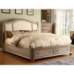 California King Sleigh Bedroom Set Coventry Upholstered Sleigh Storage Bed In Weathered