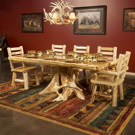cedar dining room table cedar lake solid wood dining table on stump beautiful