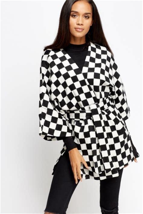 Mono Jaket Black mono grid 3 4 sleeves jacket black white just 163 5