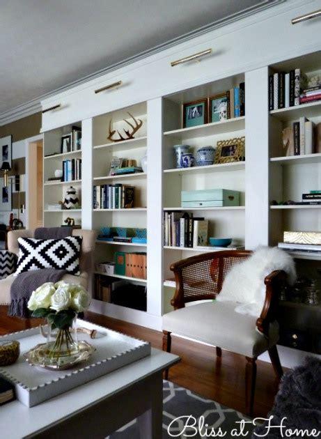 hometalk ikea billy bookcase library wall