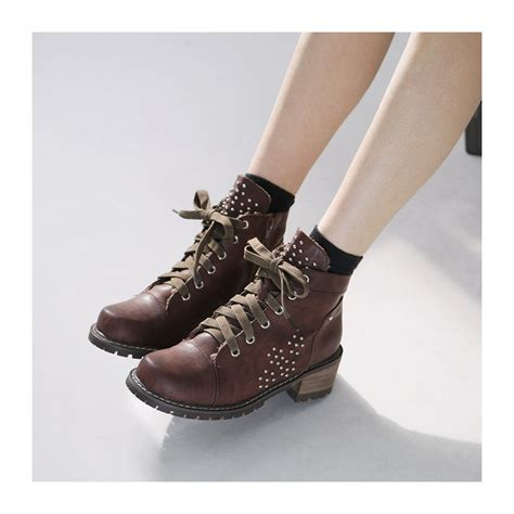s synthetic leather studded side zip lace ups ankle boots black brown khaki