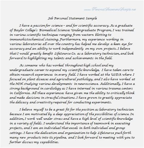 25 best personal statement sle images on pinterest