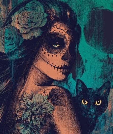 dead cat painting essa caveira mexicana iphone wallpaper