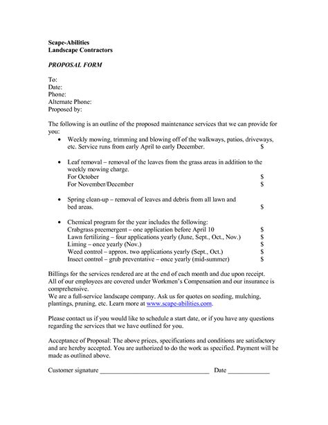 bid proposal template for landscaping sle resume for