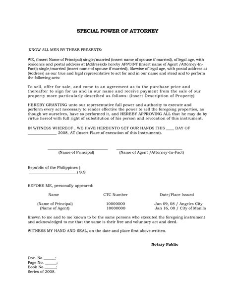 Best Photos Of Special Power Of Attorney Format Power Of Attorney Form Template Special Power Special Power Of Attorney Template Free