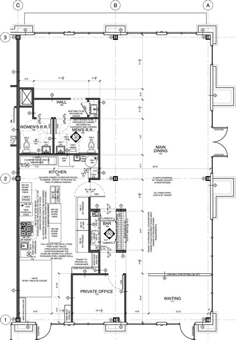 Hotel Kitchen Layout Drawings by Restaurant Floor Plan For Tenant Improvement Taste Of