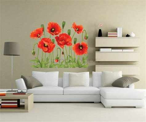 poppy home decor new 2015 diy wall sticker mural home art decor red poppy