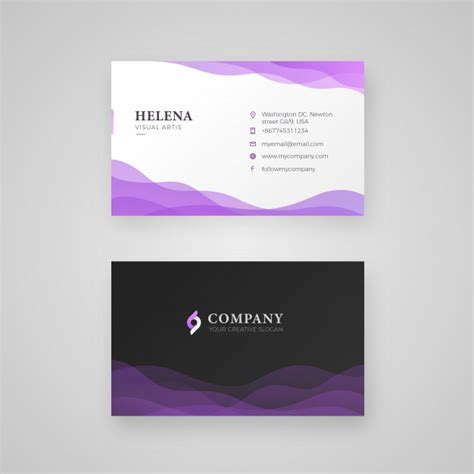 business card template 8 5x11 ai wavy purple smooth color business card vector premium