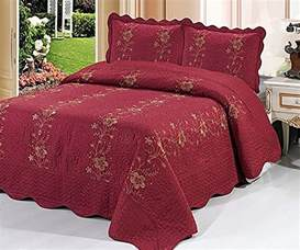Quilted Coverlet King Burgundy 3 Piece Quilted Bedspread Red Burgundy Quilt