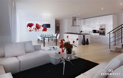 modern white home decor red white black decor interior design ideas