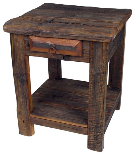 rustic wood accent tables rustic old wood end table night stand rustic side