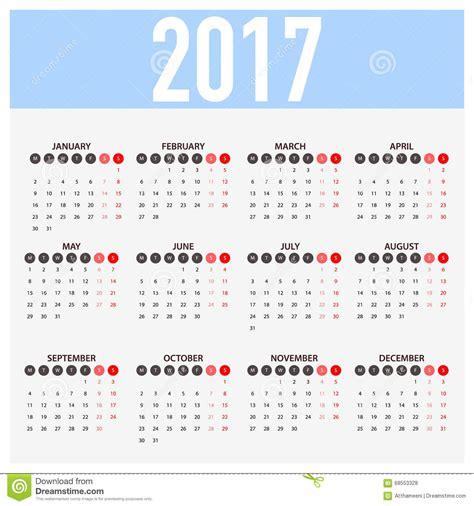 Calendario N Semanas Calendario Para 2017 En El Fondo Blanco La Semana Comienza