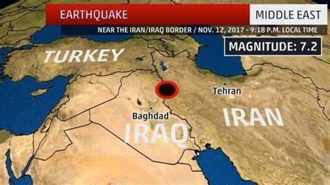 middle east earthquake map at least 6 dead after 7 2 magnitude earthquake strikes