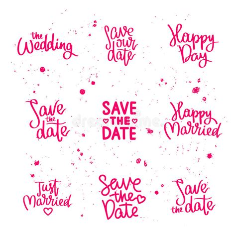 Wedding Date Quotes by Set Wedding Quotes Calligraphy Stock Vector
