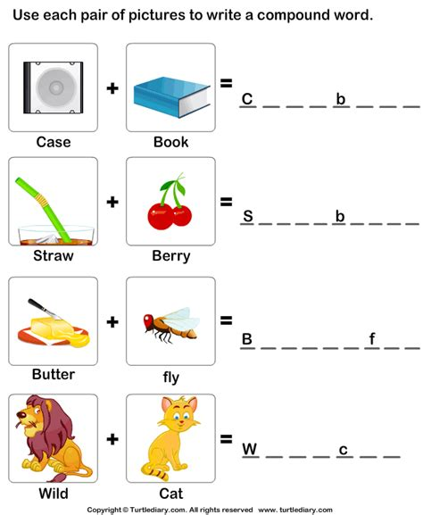 compound words with pictures worksheets use pictures to make compound words worksheet turtle diary