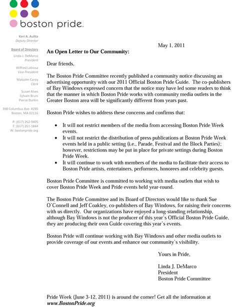 Letter Pageant Letter To The Community