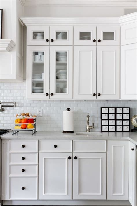 Hardware For White Kitchen Cabinets by Small Subway Tile In Kitchen Traditional With Black