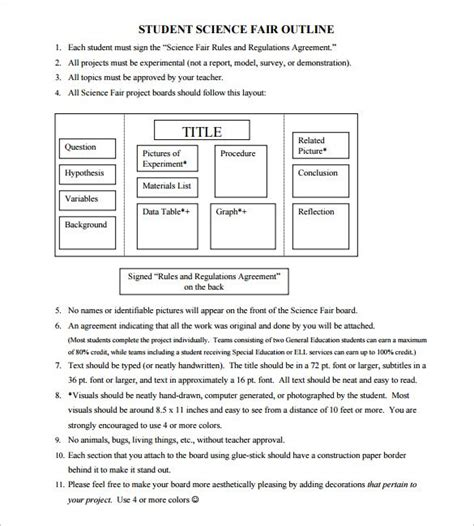 Project Outline Template 10 Free Word Excel Pdf Science Fair Project Templates