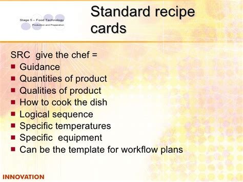 standard recipe card template work flow