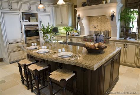 Pictures Of Kitchens Traditional Off White Antique Kitchen Island Design Ideas With Seating