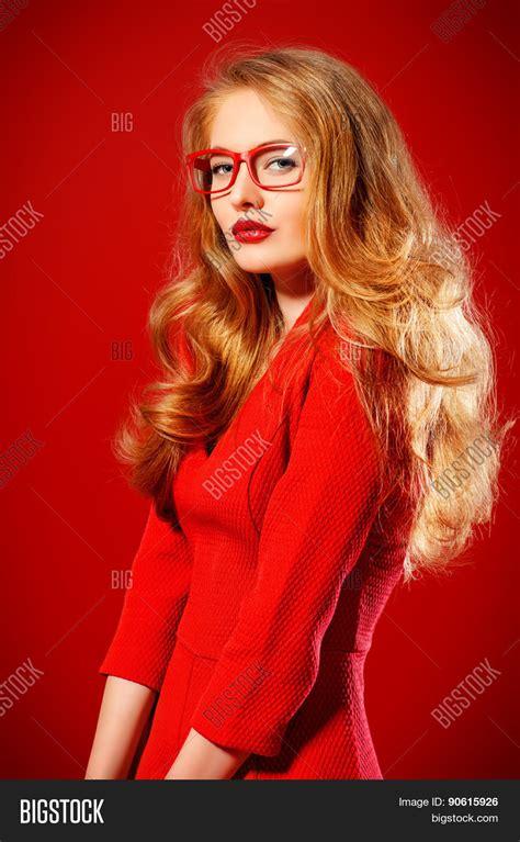 blonde bob red dress beautiful young woman magnificent image photo bigstock